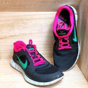 Nike Womens Free Run Running Shoes Black Pink